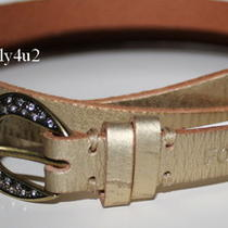 New Fossil Women's Distressed Gold Leather With Rhinestones Belt Medium Photo