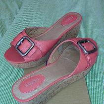 New Fossil Women's Leather Shoes Rose Pink Malea Wedge Slide Sandals Sz 11 Photo
