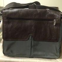 New-Fossil Workman Green Fabricbrown Leather Computer Messenger Crossbody Bag Photo