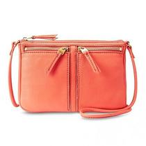 Newfossil Zb5430820 Erin Small Top Zip Orange Cross Body Leather Bag Msrp 98 Photo