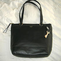 New Fossil Zb6684001 Leather Gift Shopper Bag - Black Photo