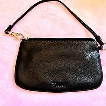 New Fossil Zippered  Black Leather Smartphone Wristlet Wallet Organizer Women's Photo