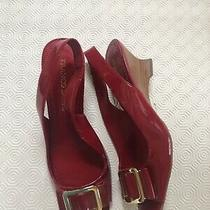 New Franco Sarto Gorgeous Red Slingback Wedges Gold Buckle Heels Sandals Size 9 Photo