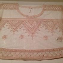 New Free People Anthropologie Tunic Top Blouse Embroidered See-Through Beige Photo