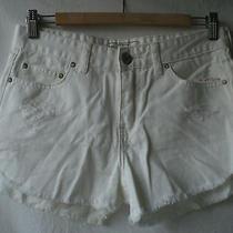 New Free People Dolphin Hem Denim Cut-Off Shorts White Wash Dark Frayed 26 2 Xs Photo