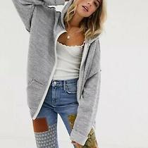 New Free People Sz S in Bloom Zip Up Textured Hoodie Sweatshirt Sweatshirt Gray Photo