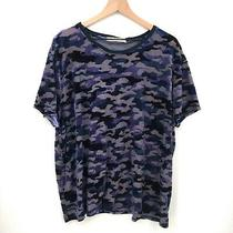 New Free People Teddy Velvet Burnout Camouflage Top Blue Camo Boho Boxy Shirt Xl Photo
