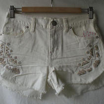 New Free People Tulum Embroidered Shorts Cut-Off Denim Distressed Dolphin Hem 25 Photo