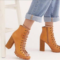 New Free People X Jeffrey Campbell Minimal Lace Up Heels 8  Tan Leather Photo
