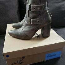 New Freebird by Steven Joey Grey Gray Stone Leather Boot Bootie 9 Heel Photo