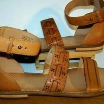 New Frye & Co Leather Whipstitch Ankle Strap Flat Sandals Evie Tan Brown Siz 10m Photo