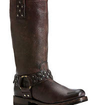 New Frye Heath Disc Harness Dk Brown Stone Antiqued Leather Boots Ladies 6.5 Photo