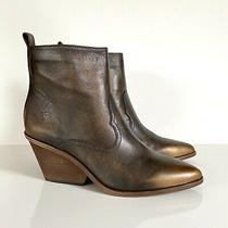 New Frye Sz 8.5 Amado Bronze Brown Wedge Heel Ankle Bootie Women's Uk 6.5 Eur 39 Photo