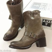 New Frye Vera Short Brown Vintage Leather Engineer Booties Heels Shoes Boots 9.5 Photo