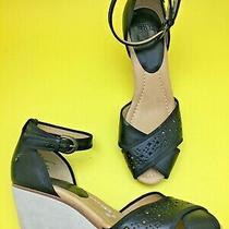 New Frye Wanda 9 Cute Black Beige Leather Suede Sandals Wedge Heels Platform Photo