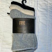 New Frye Women's Mesh Shortie Crew Socks 3-Pack Black Gray Cream Photo