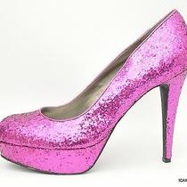 New G by Guess Vabii Round Toe Patent Platform Pump Heel Pink Glitter 10 Photo