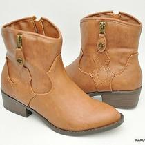 New G by Guess 'Wicked' Western Motorcycle Ankle Boot Bootie Tan Brown 6.5 Photo
