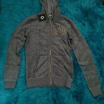 New G by Guess Women Mica Velour Zip Up Hoodie Cloudy Gray Sweat Shirt Sz Xs Photo