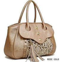 New Galian Touch of Sparkle W/ Lace Large Studded Tote- Rose Gold Photo