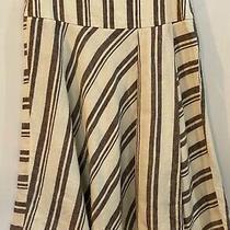 New Gap 4 Ivory Black Linen Side Zip Flared Knee Length Skirt Nwt 54 Photo