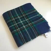 New Gap Designer Men's Blue Green Yellow White Plaid Soft Warm Acrylic Scarf Photo