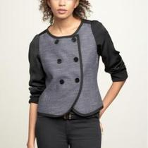 New Gap Double Breasted Tweed Jacket Black Sz M Photo