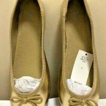New Gap Girls Gold Ballet Flats Shoes Size 2 Youth Photo