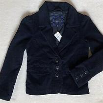 New Gap Girls Outfitting Collection Blue Velour Jacket Coat Size S 6 7 Photo