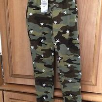 New Gap Girls Xs 4-5 Camouflage Stretch Pants With Silver Stars Nwt Photo