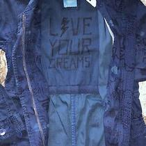 New Gap Kids Ed Long Jacket Navy Blue Live Your Dreams Sz Large  Photo