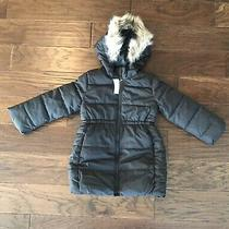 New Gap Kids Girls Cold Winter Jacket Coat  Size Xs  4 - 5 Black Faux Fur Photo