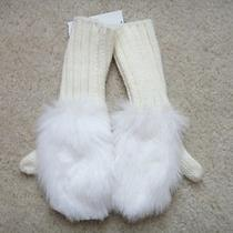 New Gap Kids Girls White Ivory Faux Fur Mittens Small S 6 7 Years Nwt Photo