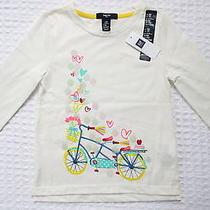 New Gap Kids Girls Xs 4t-5t Bicycle White Long Sleeve Shirt Photo