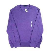 New Gap Men's Sweater Size Xxl 100% Cotton v-Neck Pullover Purple Photo