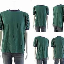 New Gap Mens Size S Green Solid Pull Over Shirt Crew Neck Contrast Trim Top Chop Photo