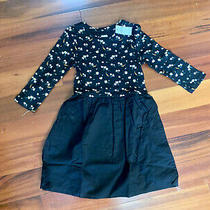 New Gap Nwt Girl Dress Black Small 7 6 White Yellow Flower Floral Long Sleeved S Photo