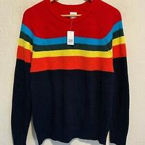 New Gap Rainbow Striped Pullover Sweater Size Small Men's Cotton 70 Tag Nwt Photo