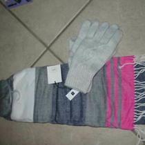 New  Gap  Scarf and Glove Set  Pink  Gray  Navy  Nice Photo
