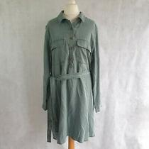 New Gap Shirt Dress L Uk 14-16 Green Denim Look 100% Lyocell Collar Belt 472853 Photo