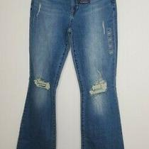 New Gap Size 4 High Rise Flare Jean Med Wash Distressed Stretch 31 Inch Inseam Photo