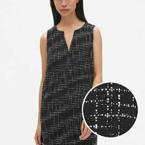 New Gap Sleeveless Split Neck Shift Dress Tweed Black White Womens Xs P Xsp Nwt Photo