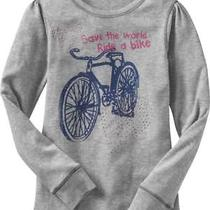 New Gap Sparkly Bicycle Save the World Ride a Bike Grey Tee Top Girl 4-5 Xs Photo