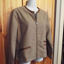 New Gap Taupe Fully Lined Zipper Front Jacket Blazer W/ Faux Leather Accents M Photo