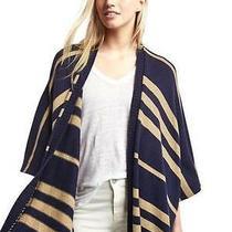 New Gap Womens Stripe Poncho Cardigan Knit Sweater Navy Camel One Size 79 Nwt Photo