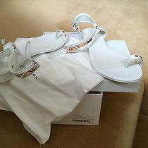 New Genuine Balenciaga White Patent Leather Toe Post/ankle Strap  Sandal-39.5 Photo