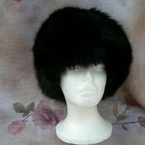New Genuine Fox Fur Hat Black Fur From Express Quilted Lining Soft Luxurious Os Photo