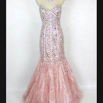 New Genuine Jovani 7024 Blush Mermaid Beaded Wedding Prom Women Dress Gown 12 Photo