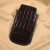 New Genuine Natural Brown Alligator Iphone 5  Slim Pouch Case Photo