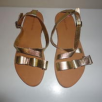 New Gerard Darel Mettalic Gold Leather Womens Dress Sandals Size 9 Med Portugal Photo